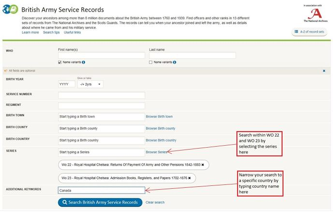 Image showing how to use Findmypast.co.uk to search for pension records by country of residence
