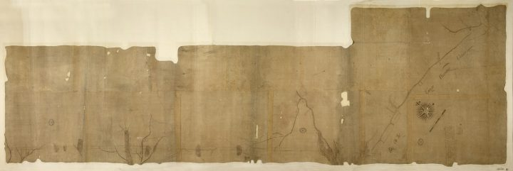 A faded Colonial Office map of the division line between North and South Carolina in 1730 (catalogue reference CO 700/CAROLINA8)