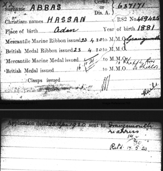 Image of medal card for Hassan Abbas (TNA ref: BT 351/1)