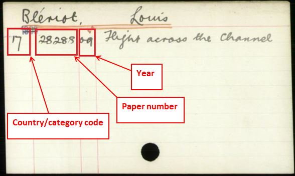 Foreign Office index card for 1909. The index reference is for correspondence about Louis Blériot's flight across the English Channel