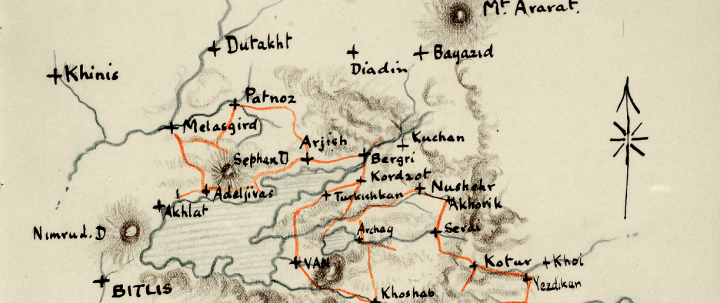 Foreign Office map showing the Armenian-Turkish border in 1908 (catalogue reference FO 195/2283).