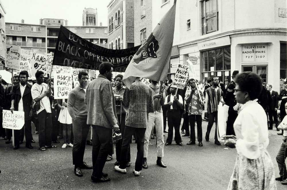 Image of a black and white photograph of a Black Power demonstration and march