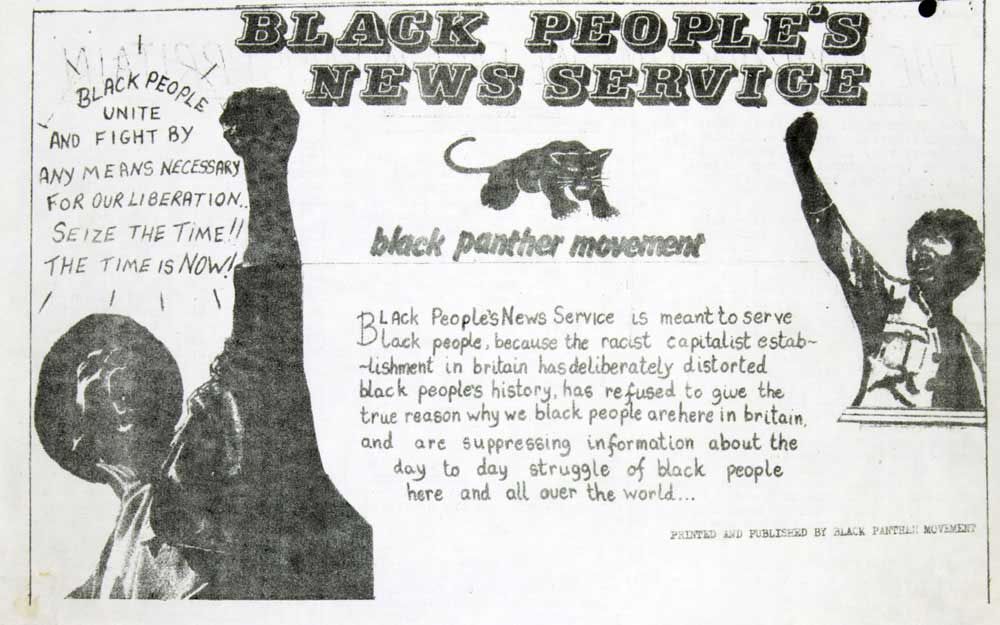 Image of a Black Panther movement newspaper, bearing the slogan 'Black people unite and fight by any means necessary for our liberation. Seize the time! The time is now!'