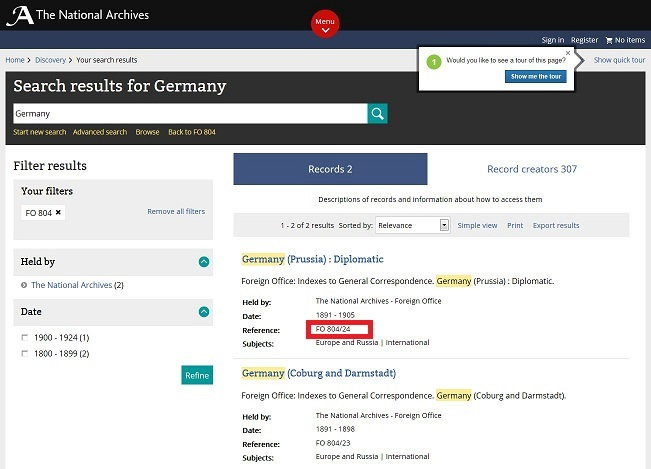 Catalogue search results page showing the results of a search for Germany in FO 804