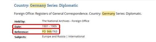 Cut-away of a catalogue search results page showing the reference for the Diplomatic register for Germany