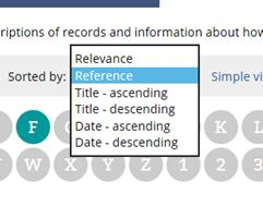 The drop down list on catalogue search results pages that allows you to sort results by reference