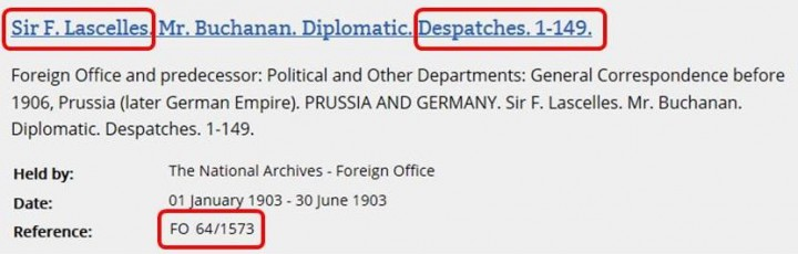 Cut-away from a search results page in the online catalogue showing the document reference for the 1903 volume of correspondence that includes Despatch 63