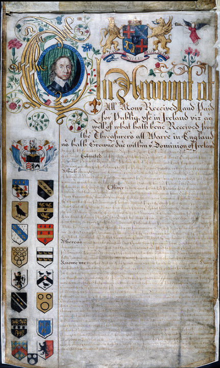 A decorated piece of parchment showing accounts of public money for use in Ireland 1649-1656, with a portrait of Oliver Cromwell in the top left corner and various insignia down the left hand side of the page (catalogue reference SP 63/281, folio 1)