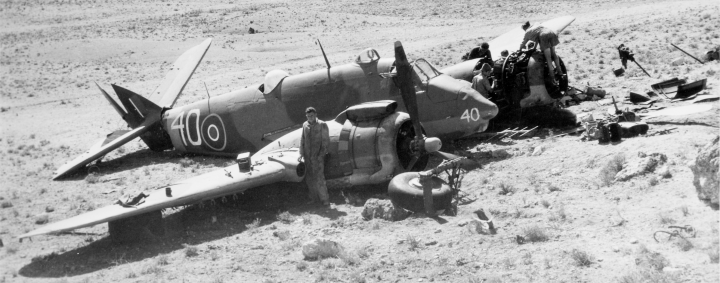 A photograph of a crashed Beaufighter at Nicosia, October 1944. This photograph is from the Operations Record Book of the RAF station at Nicosia (catalogue reference AIR 28/588)