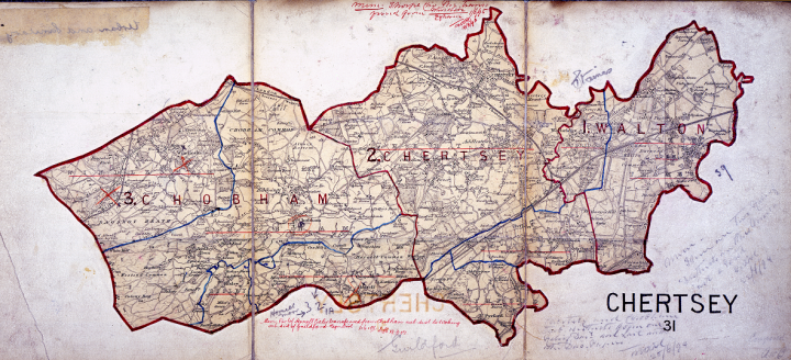 A small scale map showing Chobham, Chertsey and Walton outlined in red. This map illustrates three of the registration sub-districts at the time of the 1891 census. The map was annotated for use by the registrars responsible for collecting the census returns for this district (catalogue reference RG 18/229).