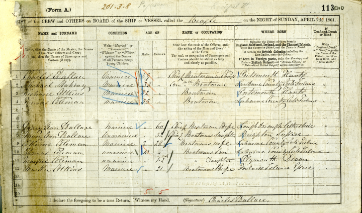 Image of the completed census form recording the crew of the HMS Beagle (catalogue reference RG 9/1085).