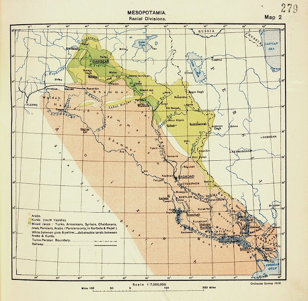 A map employed at the Paris Peace Conference in 1919, showing the 'racial divisions' in Mesopotamia (catalogue reference FO 608/96)