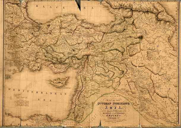 A map of the 'Ottoman Dominions in Asia' from 1828 (catalogue reference FO 925/2841). This map is from FO 925, one of the major collections of overseas maps held at The National Archives (see section 4).