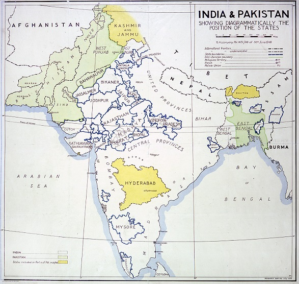 A 1948 map of India and Pakistan used by the Foreign Office (catalogue reference MFQ 1/1145). As is the case with large numbers of our maps, this map has been extracted from a Foreign Office series (in this case, FO 371) to be held with other maps and plans stored together.