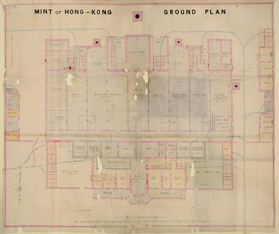 A ground plan of the Hong Kong Mint from 1864 (catalogue reference MR 1/895/2-3). This comes from a Colonial Office collection.