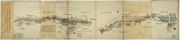 Two map-like illustrations showing the Manchester and Salford Exchange Stations layout plan from 1896, held among the records of the London and North Western Railway Company in series RAIL 410 (catalogue reference RAIL 410/796).