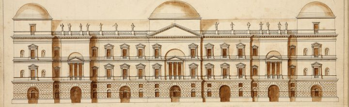 A drawing from 1739 showing William Kent's Italianate design for the Houses of Parliament (catalogue reference WORK 29/3358). The plan did not make it past the drawing board.