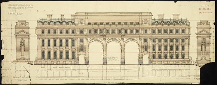 A partially ripped drawing on yellowing paper of the elevation of Admiralty Arch in London, 1907 (catalogue reference WORK 30/3276). This drawing is held at The National Archives among the records of the Office of Works and its successors.