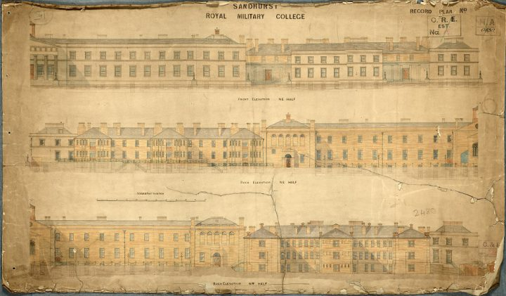 Elevations from 1880 of the front and back of Sandhurst Royal Military College (catalogue reference WORK 43/986).