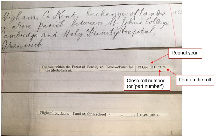 An index entry from the index showing references to three trust deeds. The entry for Higham within the Forest of Pendle (in the county of Lancashire) indicates that the deed was enrolled in close roll no.67 for 1812 (the 52nd year of George III's reign) and that the enrolled deed will be numbered as item 2 on the roll itself.