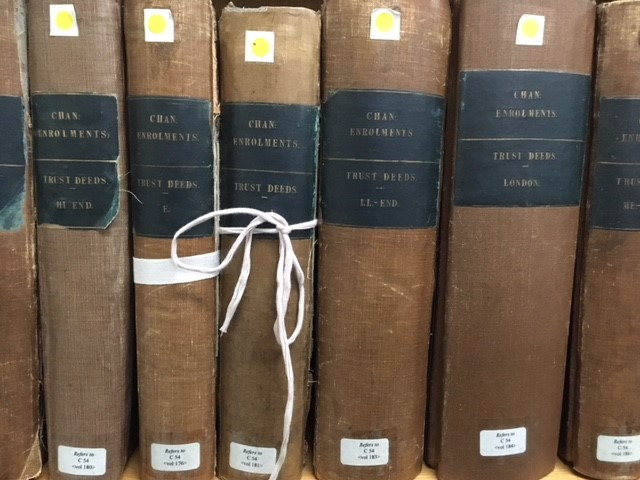 The indexes to the trust deeds held in series C 54. These indexes are held in the reading rooms of The National Archives at Kew.