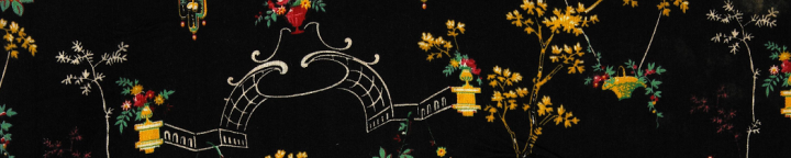 A printed fabric design of delicate flowers and a sketched garden arch against a black background, registered in 1882 (catalogue reference BT 43/346/388554).