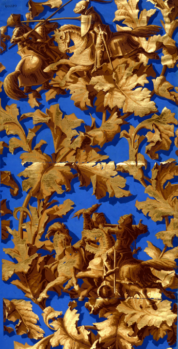 An image of gold leaves and knights on horse back against a blue background. One of the many thousands of wallpaper, or 'paper hanging', designs from our collection, this one dated 1849 (catalogue reference BT 43/85/60220).