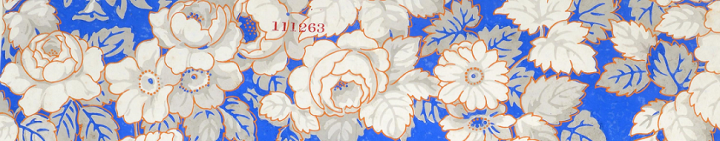 A wallpaper design, wiht white flowers against a blue background, registered by Richard Goodlad and Company of Newcastle-on-Tyne in 1857 (catalogue reference BT 43/97/111263).