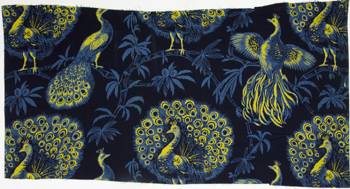 A Christopher Dresser textile design, depicting yellow and blue peacocks against a dark background, registered in 1885 (catalogue reference BT 50/30, registered design number 23268).