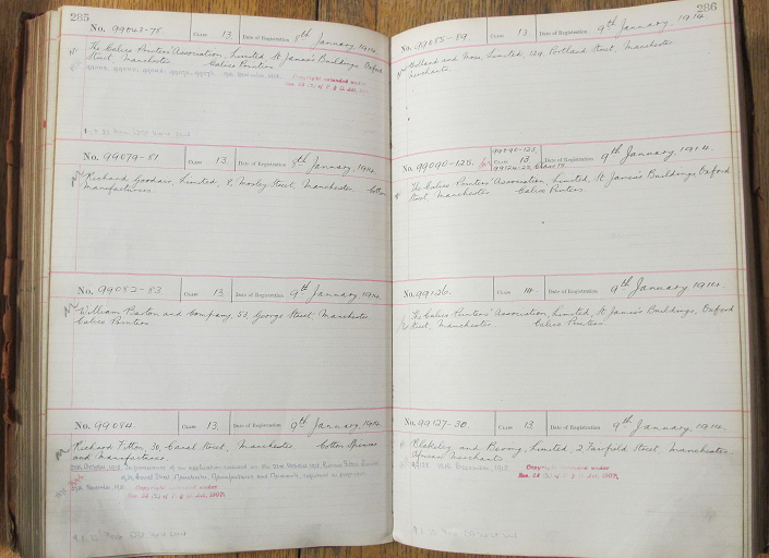 A large ledger full of handwriting. This is a design register (catalogue reference BT 53/111).