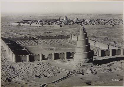 This image of Samarra in Iraq, circa 1935 (catalogue reference OS 1/384), is among a collection of aerial photographs of sites of archaeological interest in the Middle East, dated 1925-1936, sent to The National Archives from the Ordnance Survey agency. The picture shows a temple in the foreground and a walled town in the background.