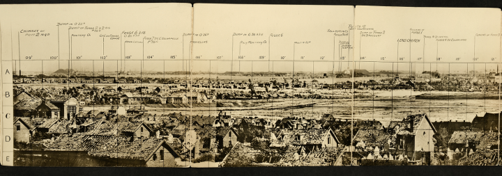 Cross-section (around a third of the full length) of a monochrome panorama of Lens in June 1917 (catalogue reference WO 316/28). The photograph shows houses and fields and has been labelled to show the locations of various features.