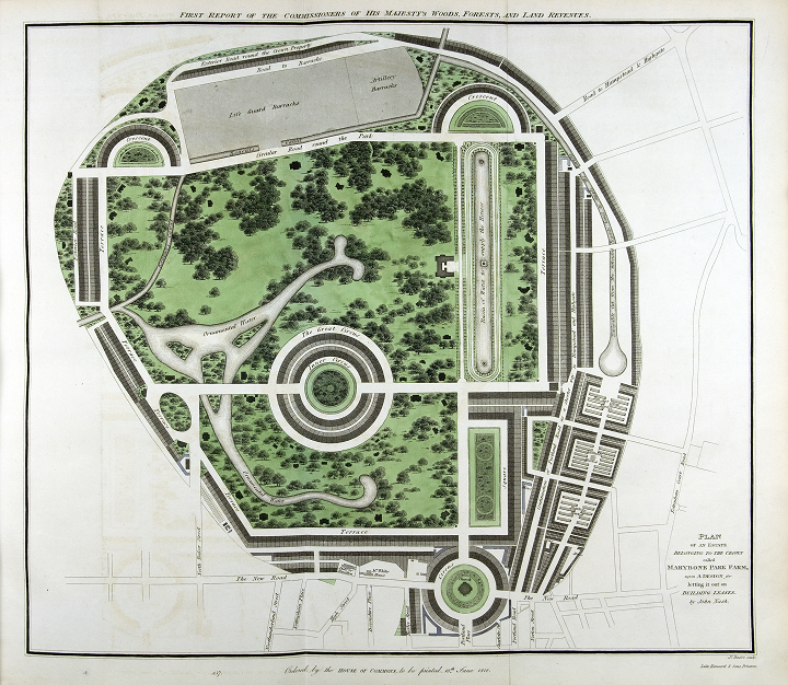 A very precisely drawn sketch of a park with paths, lawns, trees and other features depicted. This is John Nash's plan of Regent's Park, a Crown estate originally called Marylebone Park, from 1812 (catalogue reference CRES 60/2).