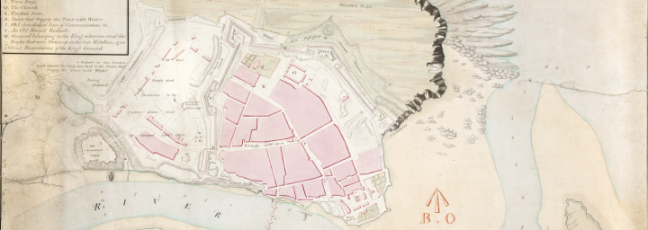 A town plan of Berwick-on-Tweed in Northumberland from 1808 (catalogue reference MPH 1/228/1). The plan shows blocks of pink representing built-up areas within a walled areas consisting of a dozen or so streets. This is a cross section of one of four sheets used for military purposes - many of our older town plans were created or acquired for military use.