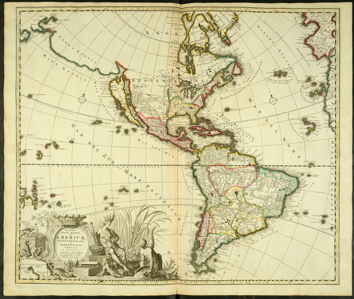 An artistically drawn early 18th century map of America, one of the relatively small number of published maps held at The National Archives. In the bottom left corner is an illustration which includes a seated and a kneeling figure.